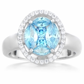 Samuela's Oval Imitation Birthstone Ring - March
