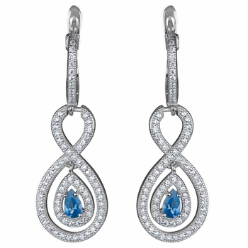 Saniya's Vinatge Pear Drop Aqua CZ Dangle Earrings