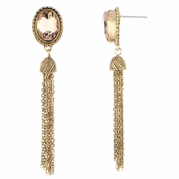 Sara's Champagne Stone Tassle Dangle Earrings