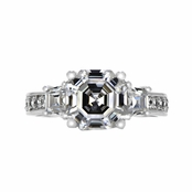 Saraya's 3 Stone Asscher Cut CZ Engagement Ring