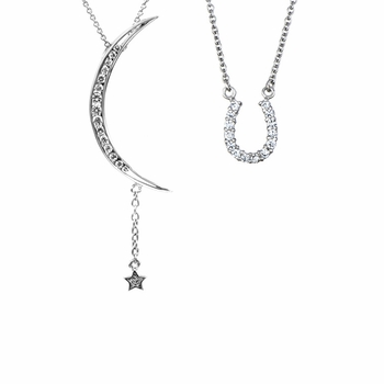 Gift Set: Horseshoe Necklace & Moon/Star Necklace