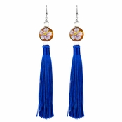 Sharon's Painted Wooden Bead and Blue Tassel Earrings