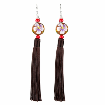 Sharon's Painted Wooden Bead and Brown Tassel Earrings