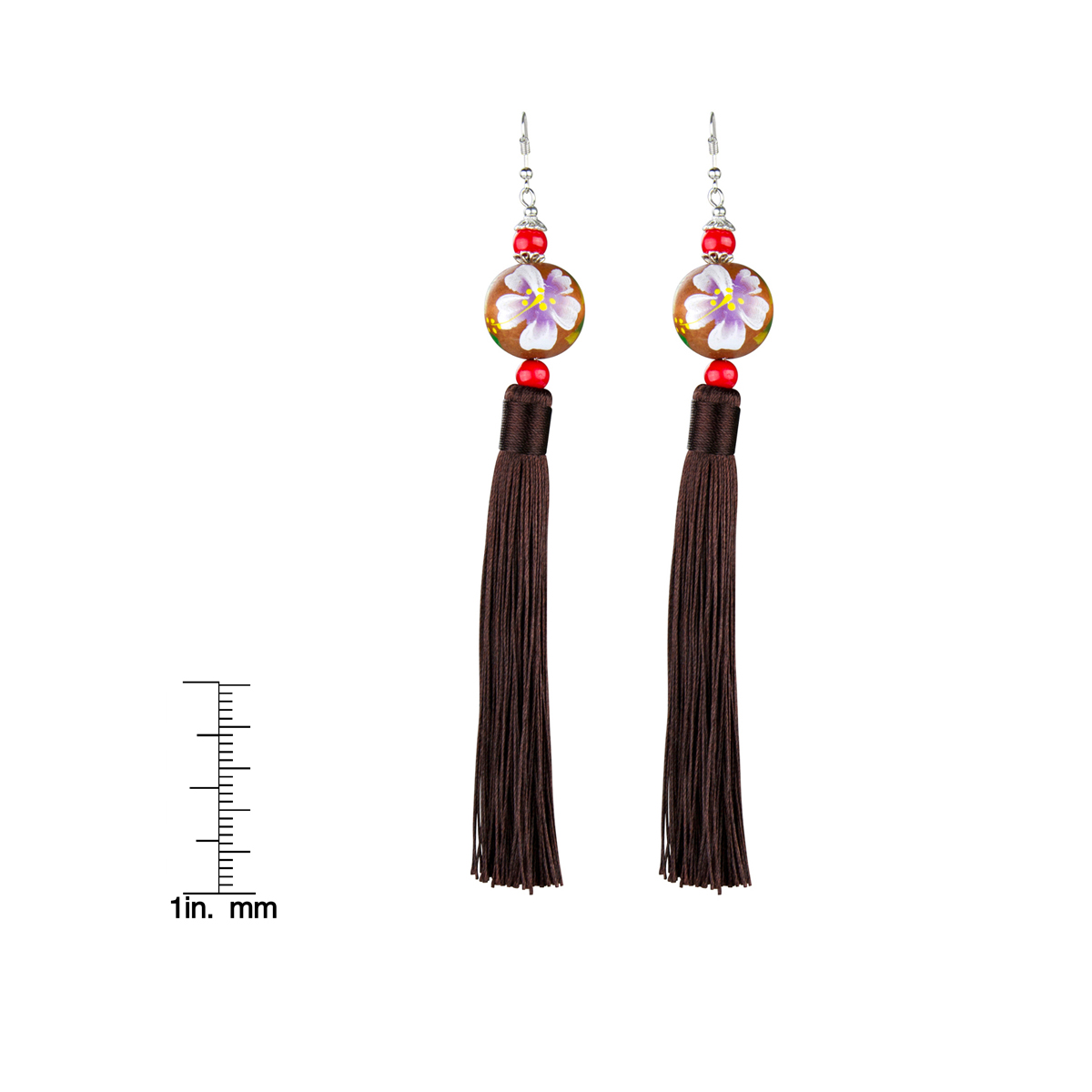 Sharon s Painted Wooden Bead and Brown Tassel Earrings