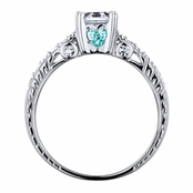 Shayla's Asscher Cut Aqua Heart CZ Engagement Ring