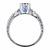 Shayla's Asscher Cut Blue Heart CZ Engagement Ring