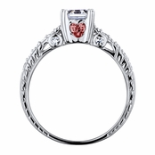 Shayla's Asscher Cut Red Heart CZ Engagement Ring