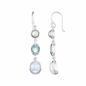 Shea's Drop Earrings - Imitation Pearl, Blue CZ, Moonstone