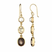 Shea's Drop Earrings - Imitation Pearl, Yellow and Gray CZ