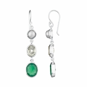 Triple Drop Earrings - Silver tone with Green, clear and simulated pearl