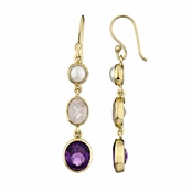 Shea's Drop Earrings - Imitation Pearl, Pink and Purple CZ