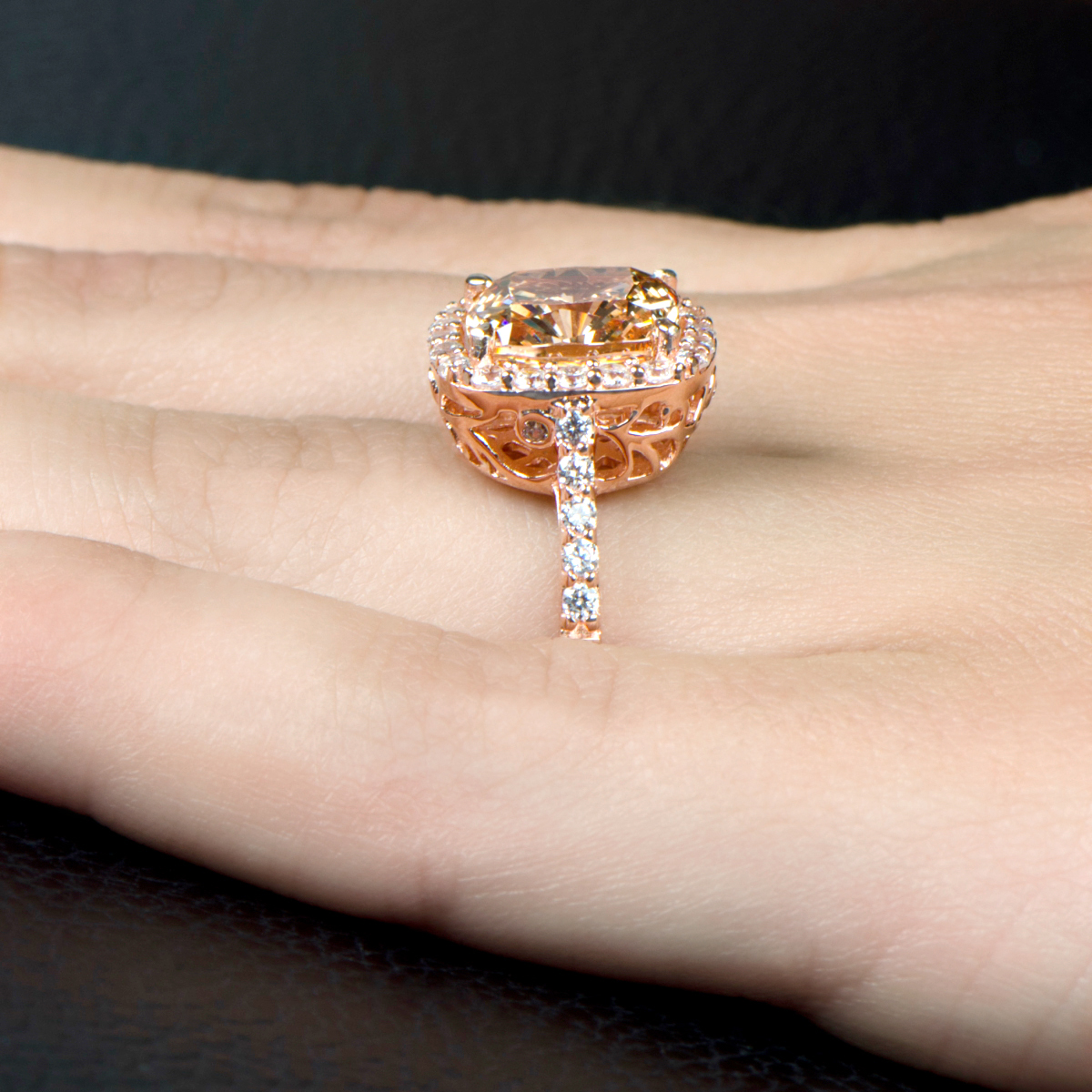 3 87ct Rose Goldtone and Peach CZ Cushion Cut Halo Engagement Ring