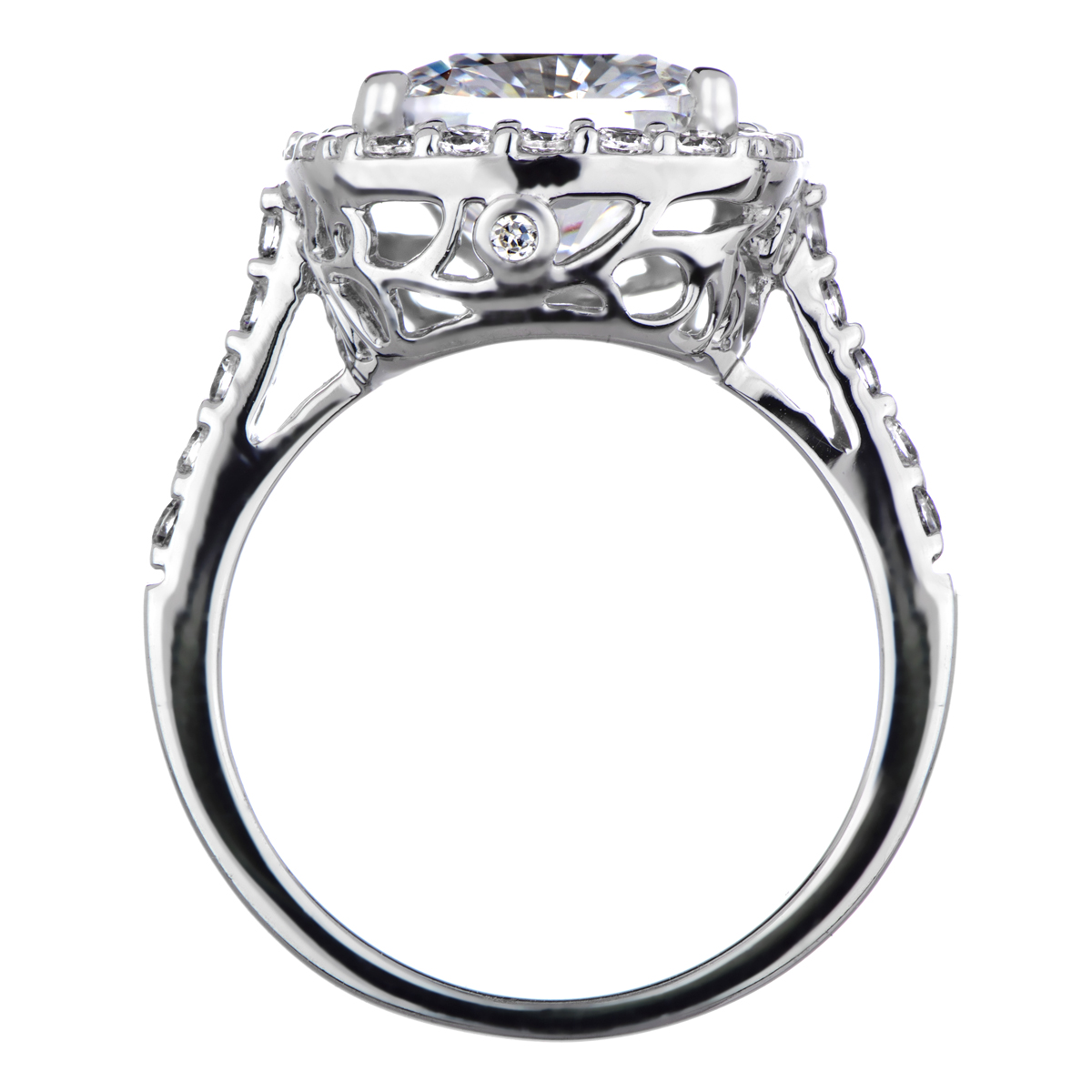 Sheera's Cushion Cut Cz Halo Engagement Ring  10mm