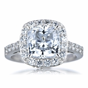 Sheera's Cushion Cut CZ Halo Engagement ring - 8mm