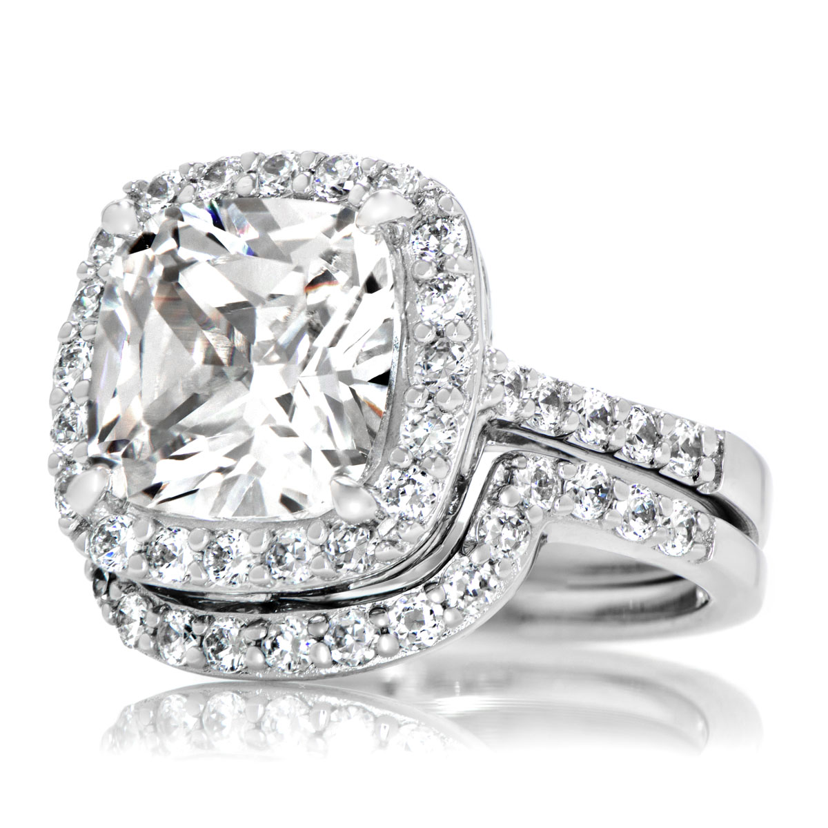 cushion cut cz halo wedding ring set - 10mm