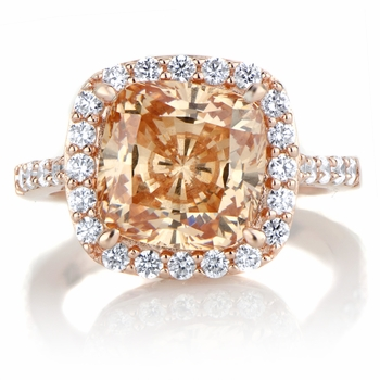 Sheera's 3.87ct Rose Goldtone and Peach CZ Cushion Cut Halo Engagement Ring