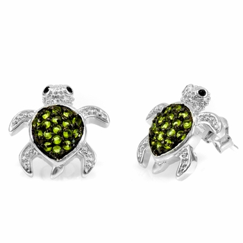 Sheldon's Green Turtle Stud Earrings