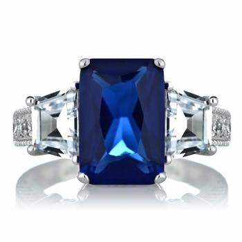 Shelia's 3 Stone Blue CZ Ring
