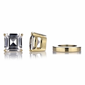 Shirina's Non Pierced Magnetic Earrings - Asscher Cut CZ Studs - Goldtone