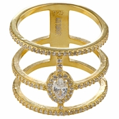 Sierra's Gold Plated Cubic Zirconia Triple Row Cocktail Ring