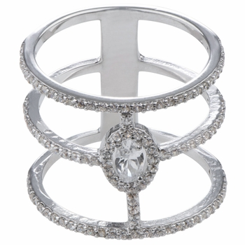 Sierra's Silver Plated Cubic Zirconia Triple Row Cocktail Ring