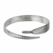 Silver Tone Feather Bangle Bracelet