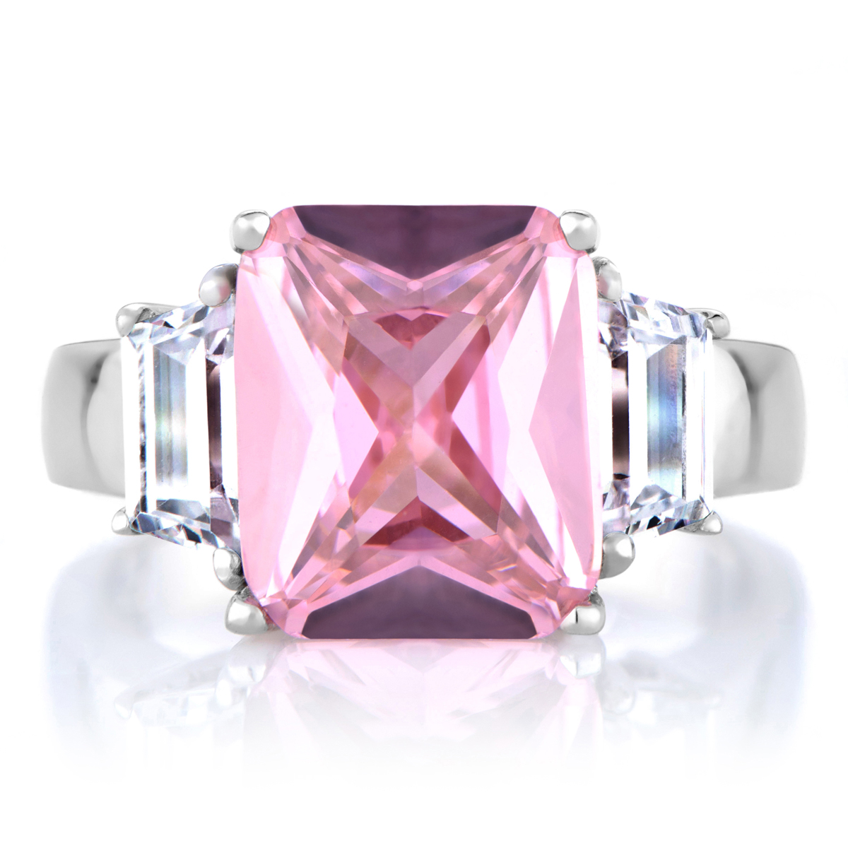 perfectly pink emerald cut cz engagement ring roll off image to close zoom window - Pink Diamond Wedding Rings