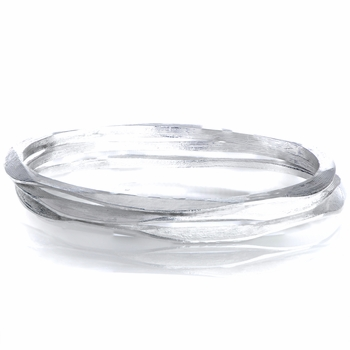 Skye's 3 pc Set of Silvertone Hammered Bangle Bracelets