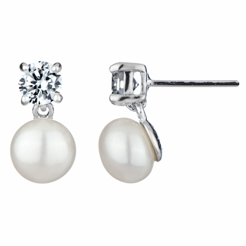 Sofie's Simply Elegant CZ & Imitation Pearl Earrings