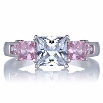 Staci's Promise Ring - Pink & Clear Princess Cut CZ