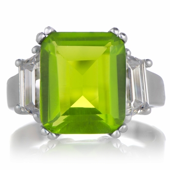 Stella's Emerald Cut 3 Stone CZ Engagement Ring - Green CZ