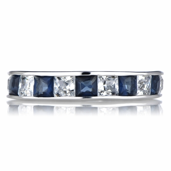 Stella's Silvertone CZ Eternity Band Ring