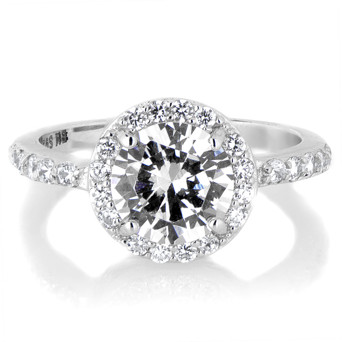 Silvertone April Imitation Birthstone Ring Roll Off Image To Close Zoom  Window