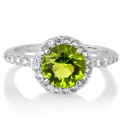 Silvertone August Green CZ Imitation Birthstone Ring