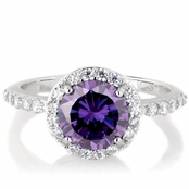 Silvertone February Imitation Birthstone Ring - Purple CZ