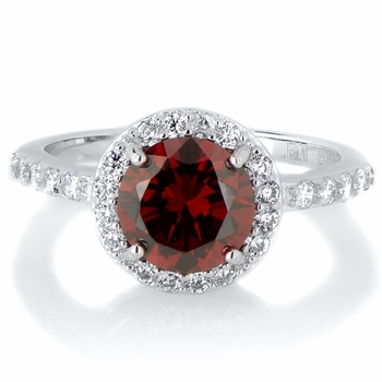 Silvertone January Imitation Birthstone Ring - Red CZ