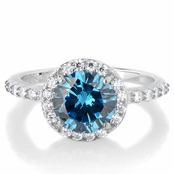Silvertone March Imitation Birthstone Ring - Light Blue CZ