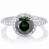 Silvertone May Imitation Birthstone Ring - Green CZ