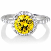 Silvertone November Imitation Birthstone Ring - Citrine CZ