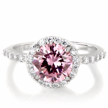 Silvertone October Imitation Birthstone Ring - Pink CZ