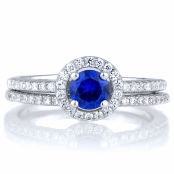 Anjala's .25 ct Round Cut Blue CZ Wedding Ring Set