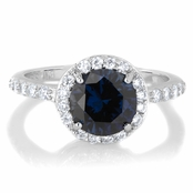 Silvertone September Imitation Birthstone Ring - Blue CZ