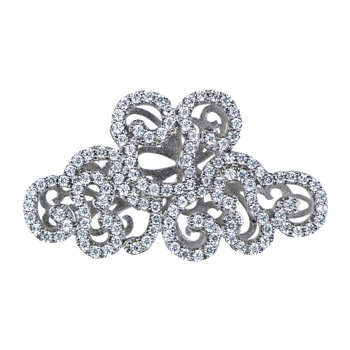33mm Silvertone and CZ Art Deco Charm for Jewelry Making