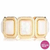 Sydney's 70's Style Goldtone and Pink Stretch Bracelet