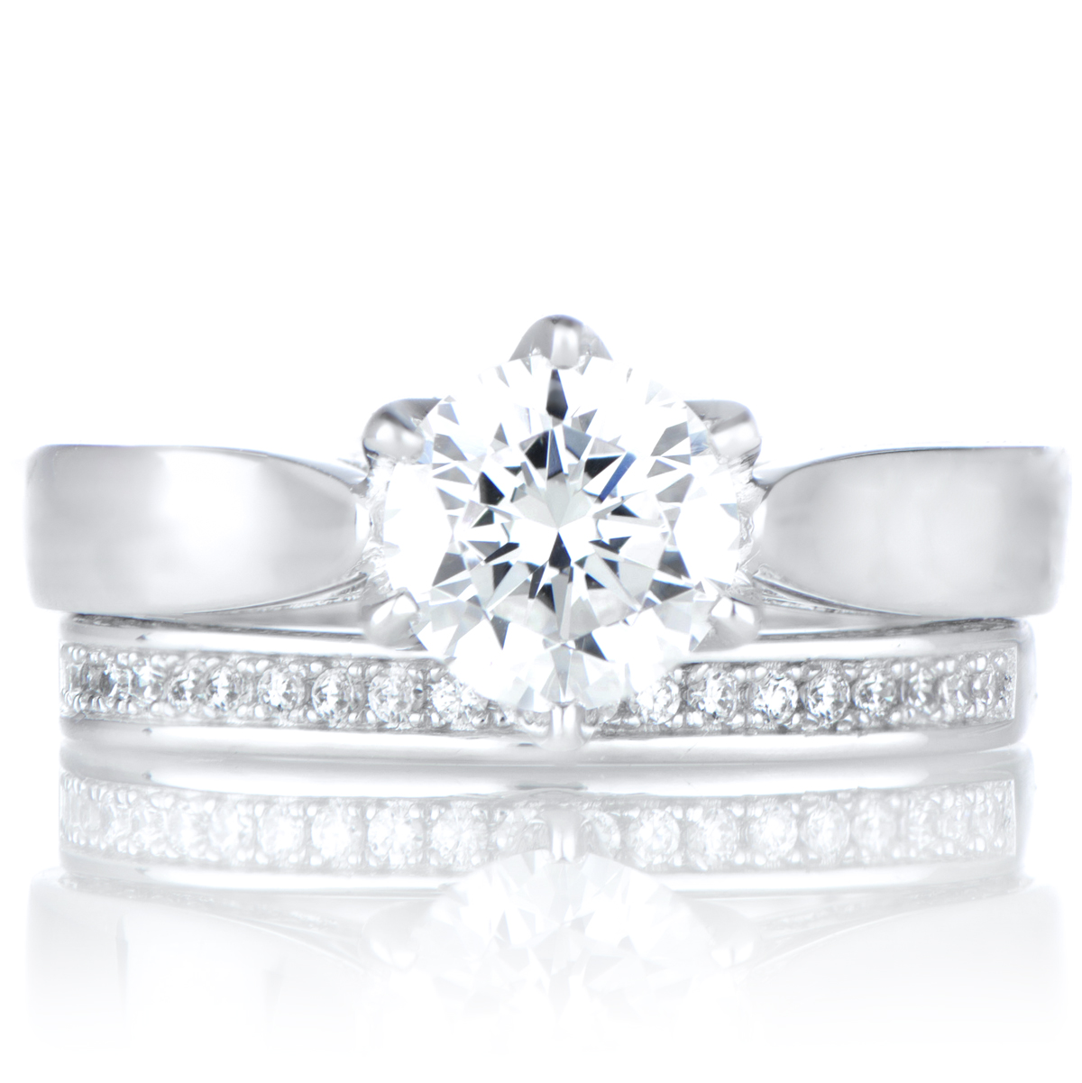 9 WomensThreeStonesCubicZirconiaPrincessCutSterlingSilverEngagementWeddingRingSet silver wedding ring sets Set Women s Three Stones Cubic Zirconia Princess Cut Sterling Silver Engagement Wedding Ring