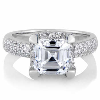 Talithas Imitation Engagement Ring Asscher Cut CZ