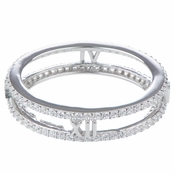 Tammy's Silver Plated Double Row CZ Eternity Ring Band