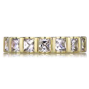 Terri's Goldtone Princess Cut CZ Eternity Ring Band