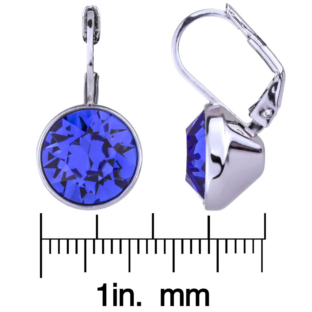 Thera's 9mm Round Cut Crystal Leverback Earrings  Blue