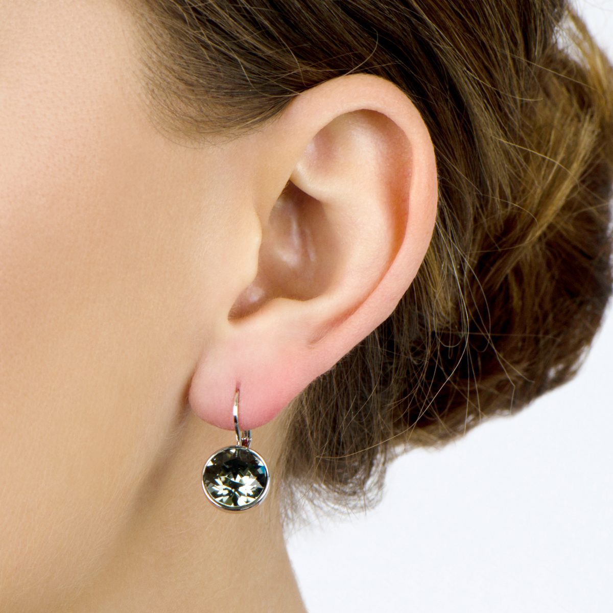 Thera's 9mm Round Cut Crystal Leverback Earrings  Grey